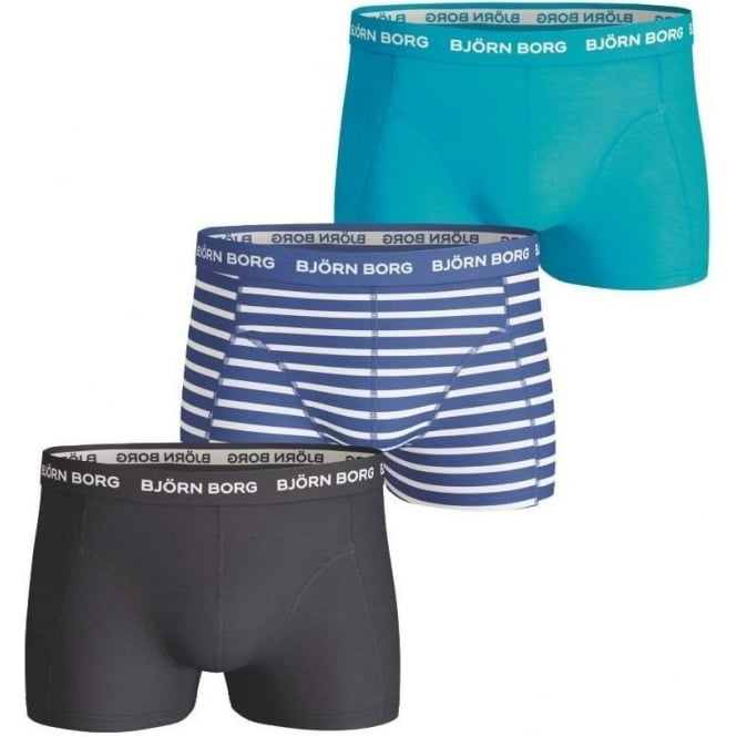 Bjorn Borg Essential Stripe & Plain Short Shorts 3 Pack - Blue Mix