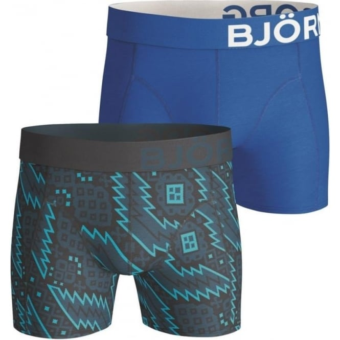 Bjorn Borg Nordic & Plain Shorts 2 Pack - Blue/Green