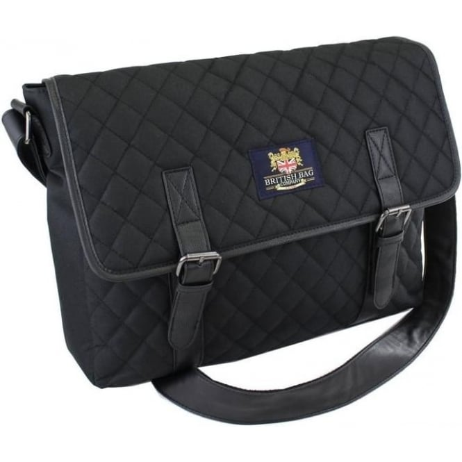 British Bag Company BLACK QUILTED MESSENGER