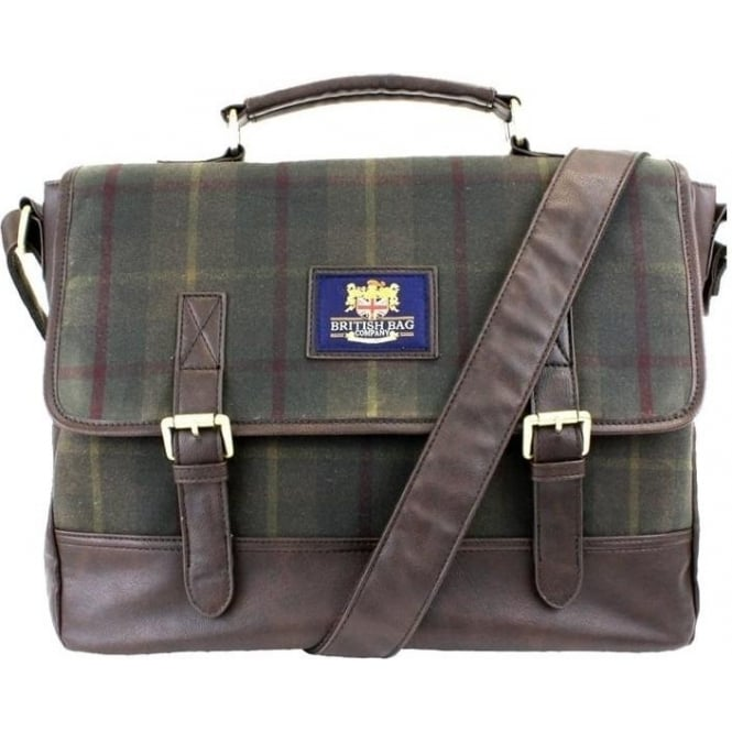 British Bag Company GREEN CHECK MILLERAIN BRIEFCASE