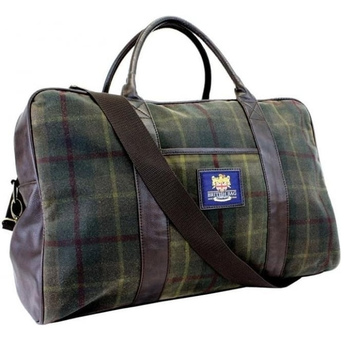 British Bag Company Green Check Millerain Holdall