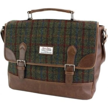 Harris Tweed Briefcase Green/Red