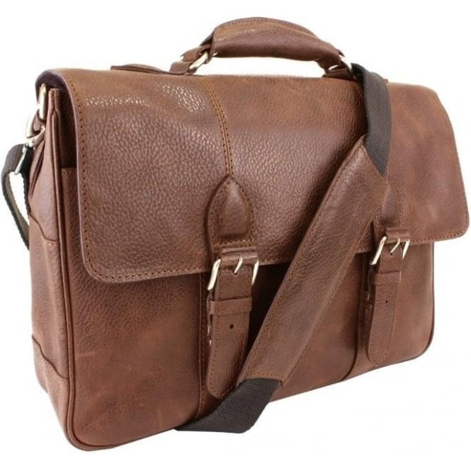 British Bag Company Oily Tan Leather Briefcase