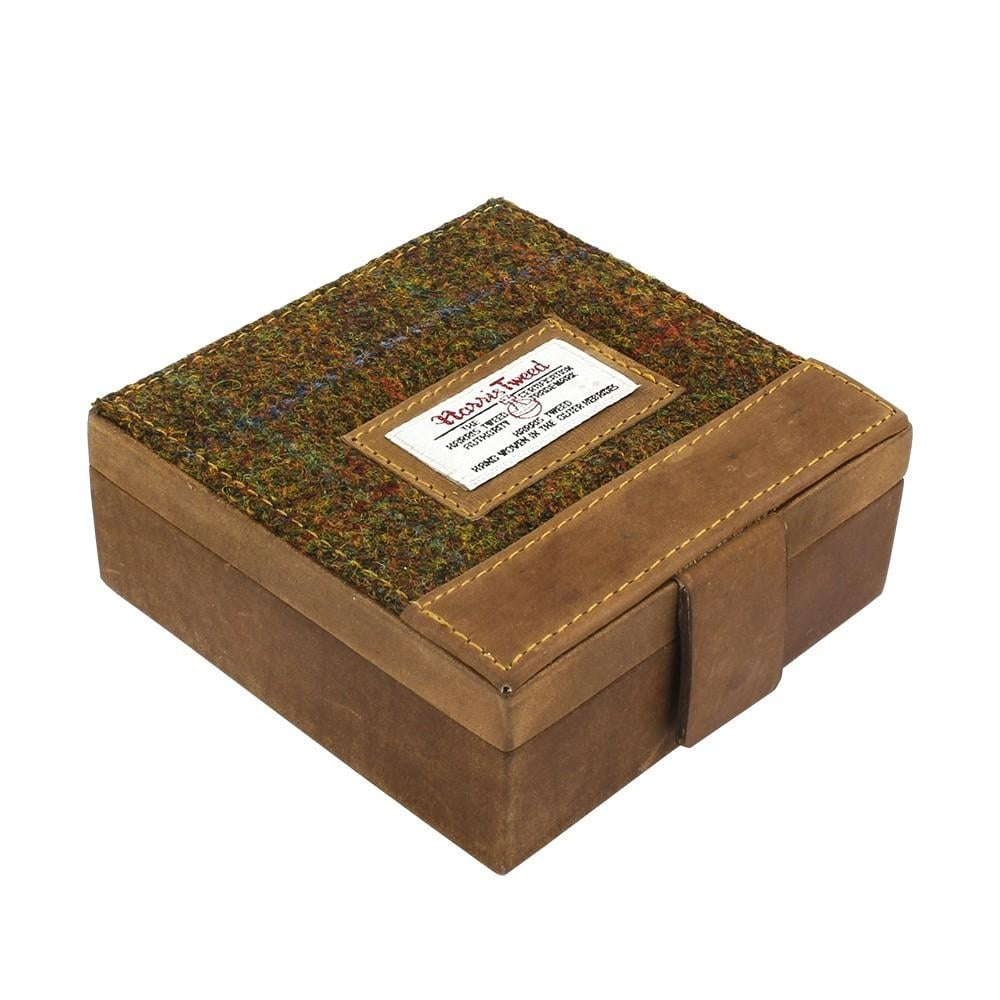 The British Bag Company Carloway Harris Tweed Cuff Link Box with Leather Trim