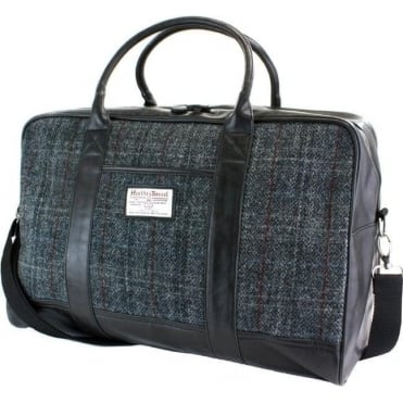 Tartan Harris Tweed Holdall Black/Grey