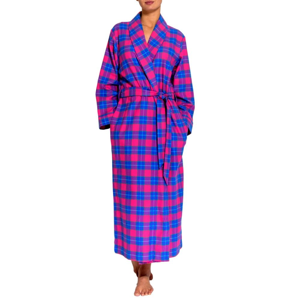 3d424a09b87 British Boxers Women s PinkTartan Two-Fold Flannel Robe