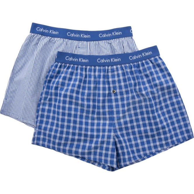 Calvin Klein 2 Pack Slim Fit Woven Boxer Shorts - Blue Check