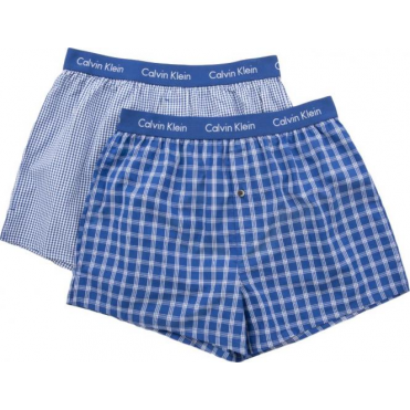 2 Pack Slim Fit Woven Boxer Shorts - Blue Check
