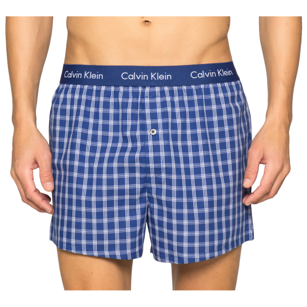 Calvin Klein 2 Pack Slim Fit Woven Boxer Shorts - Blue Check ... 1867b8e2c91