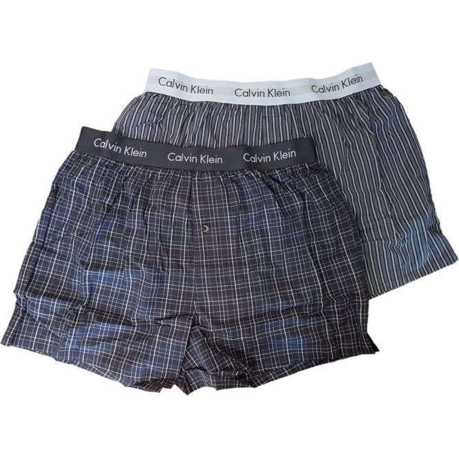 Calvin Klein 2 Pack Slim Fit Woven Boxer Shorts - Blue/Navy