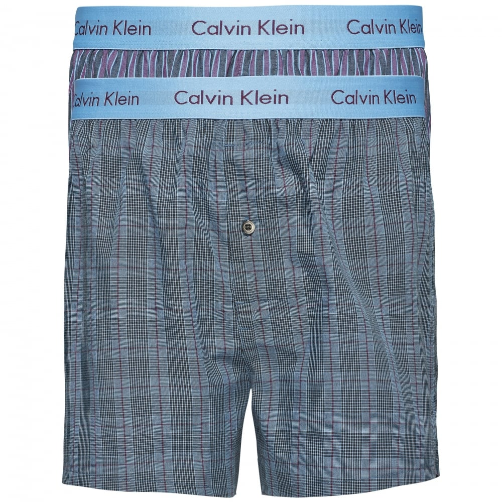 305523f9c656 2 Pack Slim Fit Woven Boxer Shorts - Turin Stripe Blue Star/Cambridge Plaid