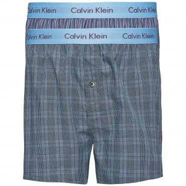 2 Pack Slim Fit Woven Boxer Shorts - Turin Stripe Blue Star/Cambridge Plaid