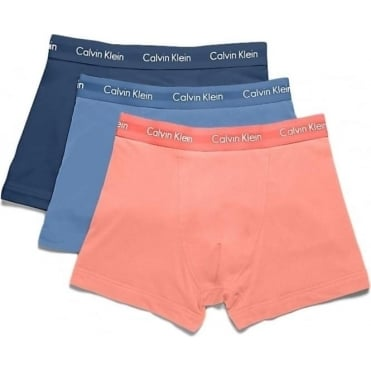 3 Pack Cotton Stretch Low Rise Trunks - Blue/Airforce/Orange