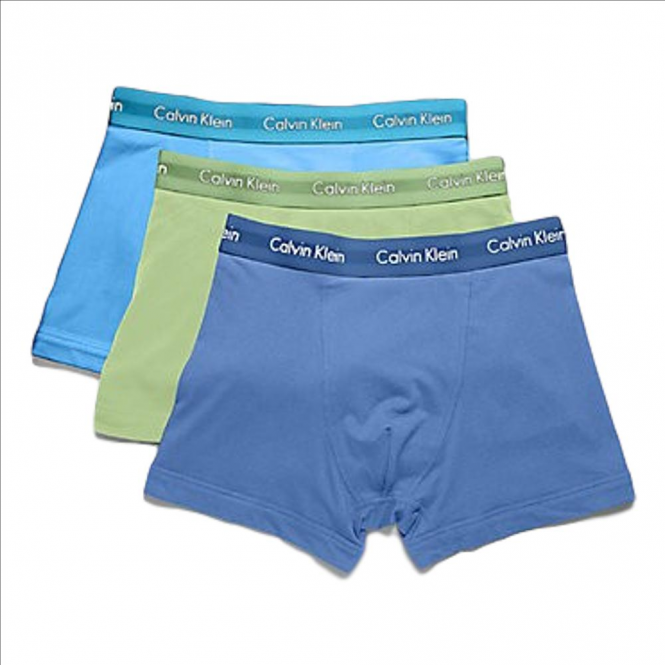 Calvin Klein 3 Pack Cotton Stretch Low Rise Trunks - Blue/Green/Navy