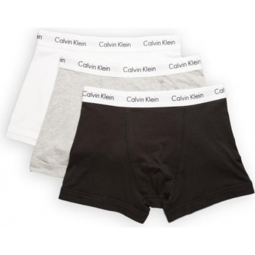 3 Pack Cotton Stretch Trunks - Black/Grey/White
