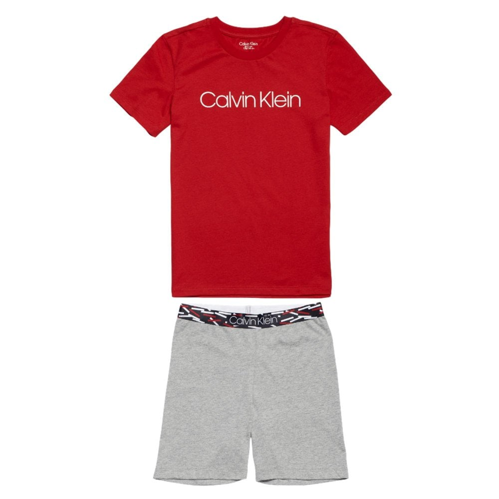 bb1c185989608 Calvin Klein Boys CK Graphic Pyjama Set - Red Grey
