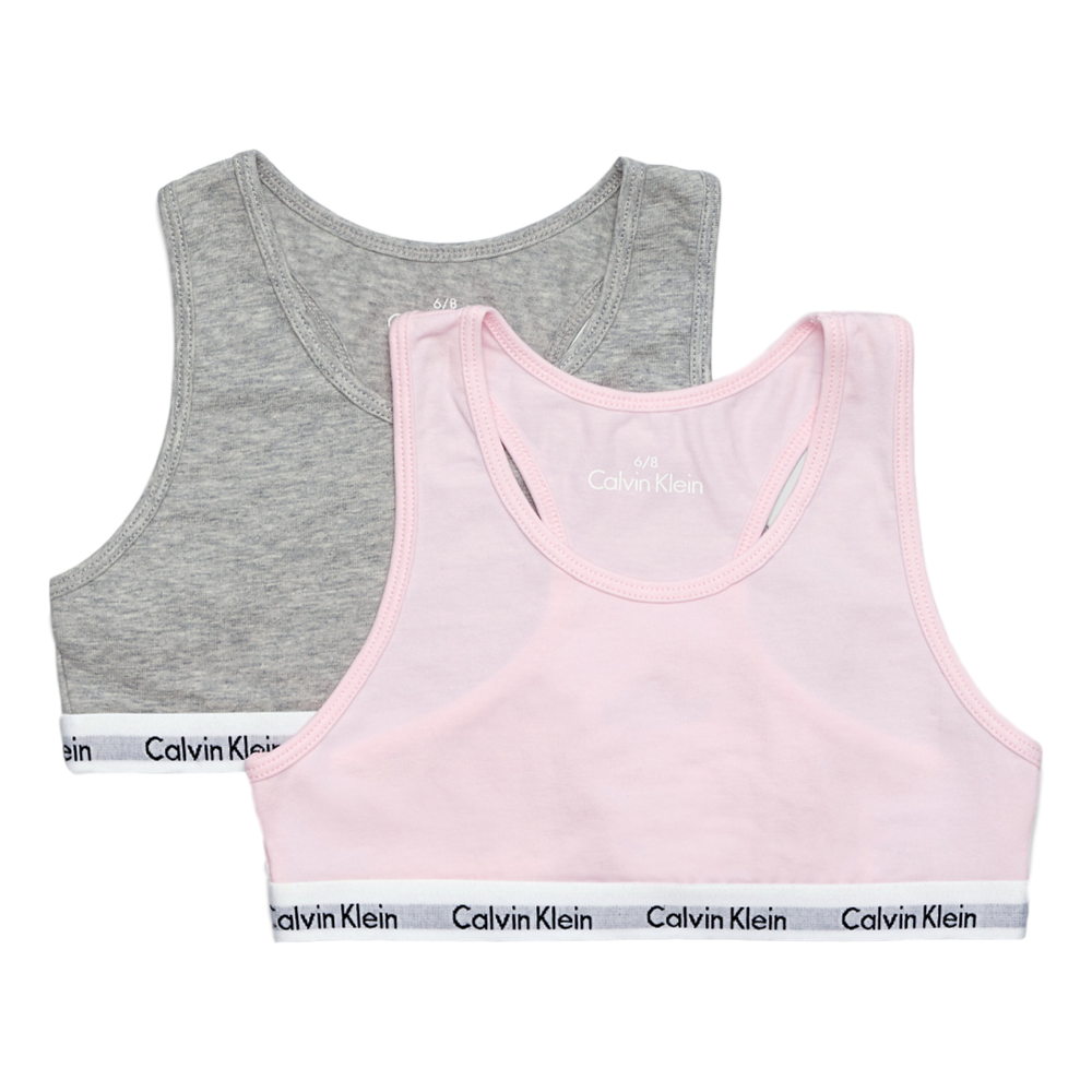 46fae6ccaf Calvin Klein Girls 2 Pack Modern Cotton Bralette Grey   Pink ...