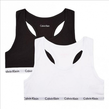 Girls 2 Pack Modern Cotton Bralette White / Black