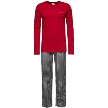 Long Pyjama Set With LS Crew Neck - Red/Grey