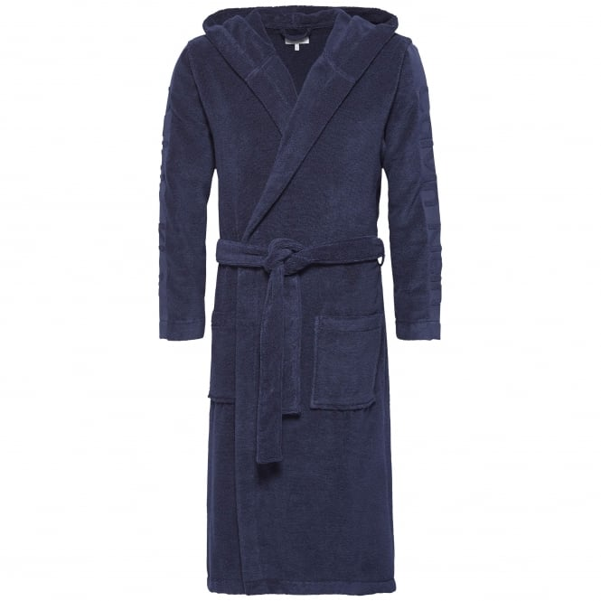 Calvin Klein Mens Hooded Robe - Blue Shadow