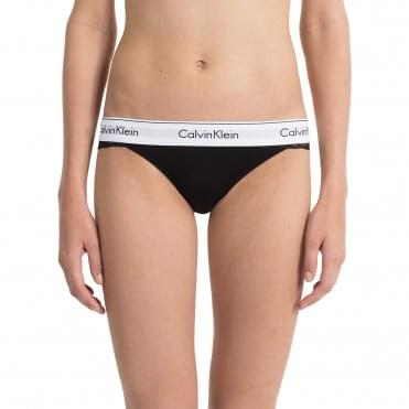 Modern Cotton Lace Thong - Black