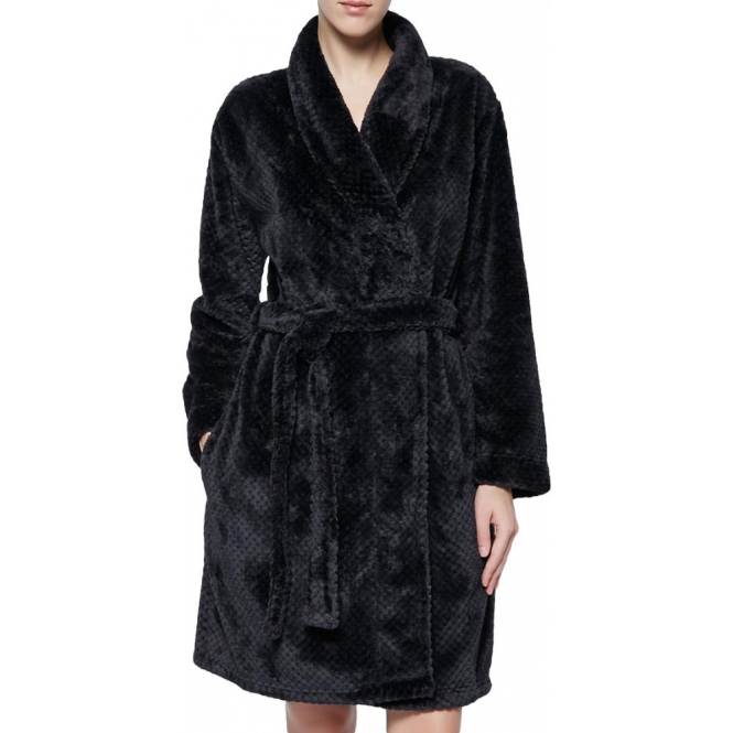 Calvin Klein Womens Fluffy Black Mix Robe