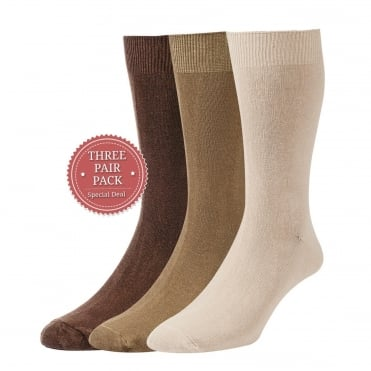 Plan Cotton Rich Sock 3 Pack - Brown/Taupe/Beige