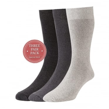 Plan Cotton Rich Sock 3 Pack - Mid Grey/Light Grey