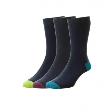 Plan Cotton Rich Sock 3 Pack - Navy/Contrast