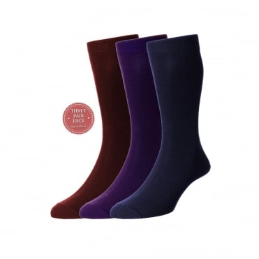 Plan Cotton Rich Sock 3 Pack - Ruby/Mulberry/Navy