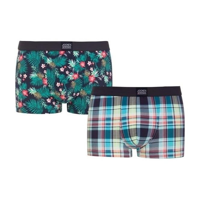 Jockey 2 Pack Floral and Check Short Trunk