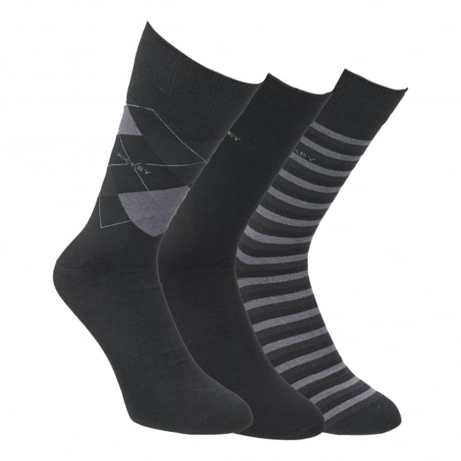 Jockey 3 Pack Rich Cotton Casual Mix Sock - Black