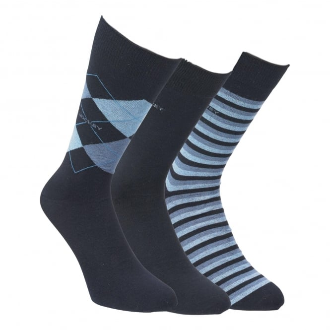 Jockey 3 Pack Rich Cotton Casual Mix Sock - Starblue