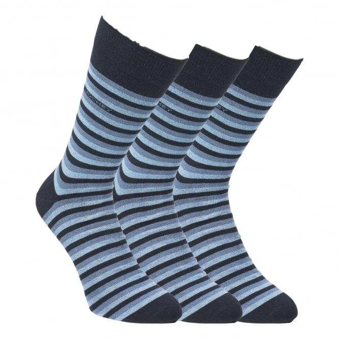 Jockey 3 Pack Rich Cotton Casual Stripe Sock - Starblue