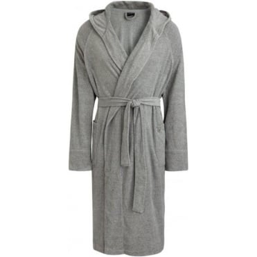 Terry Hooded Bathrobe Grey