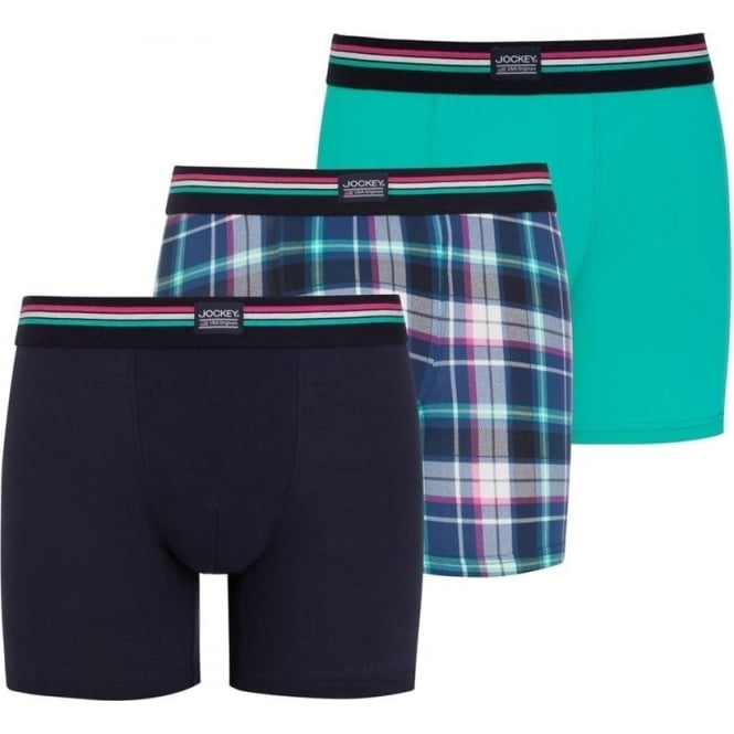 Jockey USA Originals Cotton Stretch Boxer Trunks 3-Pack Aqua Green
