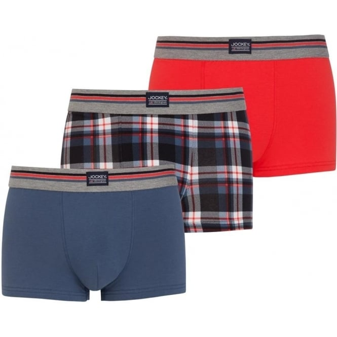 Jockey USA Originals Cotton Stretch Short Trunks 3-Pack Regatta Blue