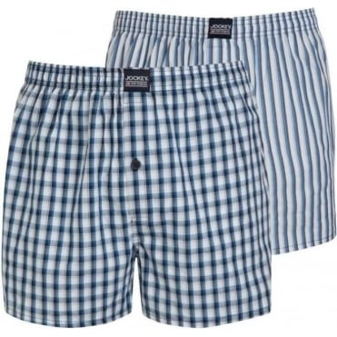 Woven Boxer Blue Navy Check Stripe 2 Pack