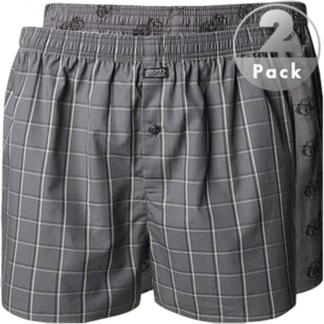 Jockey Woven Boxer Grey Motorcycle and Check Print 2 Pack