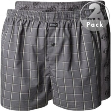Woven Boxer Grey Motorcycle and Check Print 2 Pack