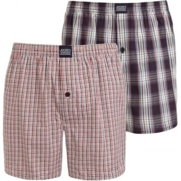 Woven Boxer Red Navy Blue Check Stripe 2 Pack