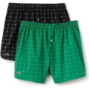 Authentics Collection 2 Pack Woven Boxer - Green/Black