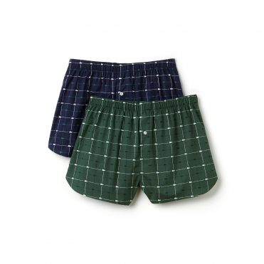 Authentics Collection 2 Pack Woven Boxer - Green/Navy