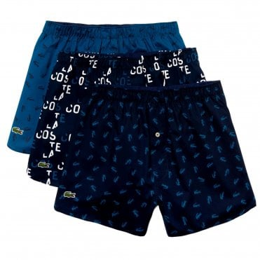 031a5f281391f6 Authentics Collection 3 Pack Woven Boxer - Navy Logo Navy Print Teal