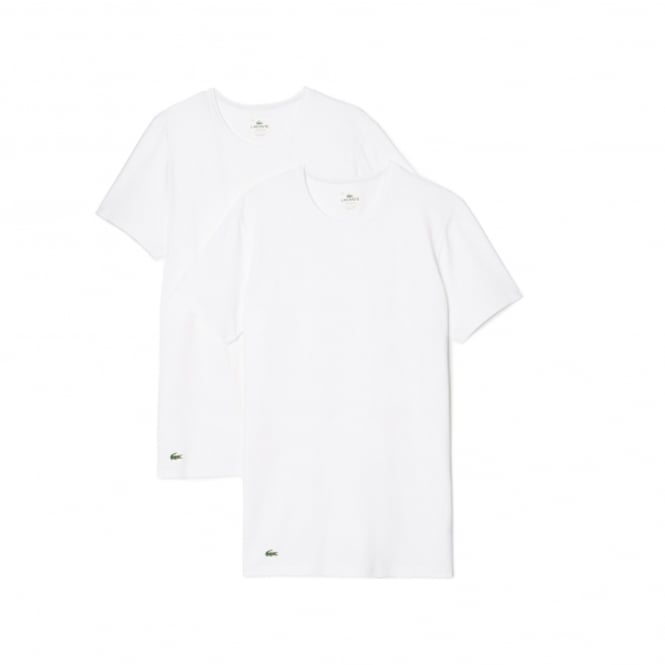 Lacoste Colours Collection 2 Pack Cotton Stretch Slim Fit Crew Neck T-Shirt - White