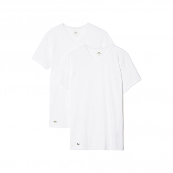 Lacoste Colours Collection 2 Pack Cotton Stretch Slim Fit V-Neck T-Shirt - White