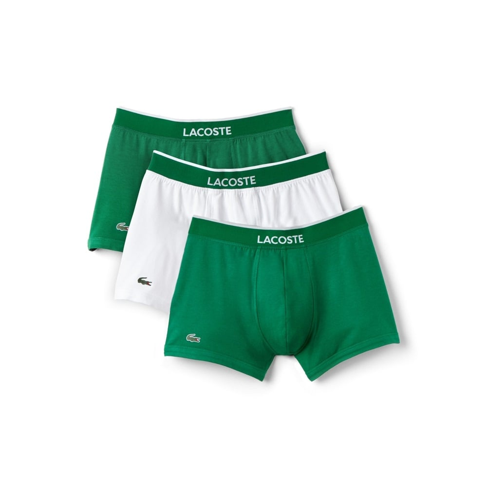 lacoste colours collection 3 pack cotton stretch boxer trunks