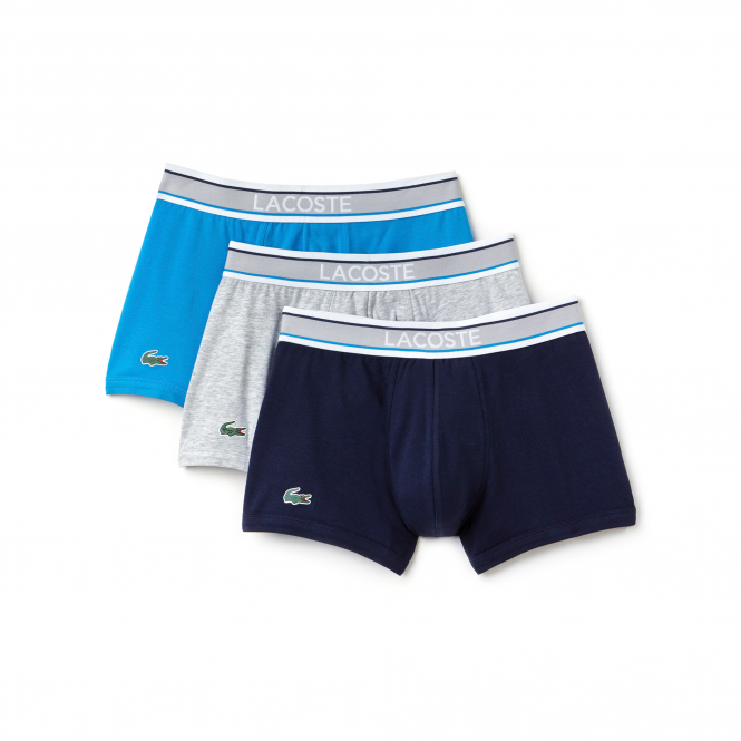 Lacoste Colours Collection 3 Pack Cotton Stretch Boxer Trunks - Navy/Gray/Blue