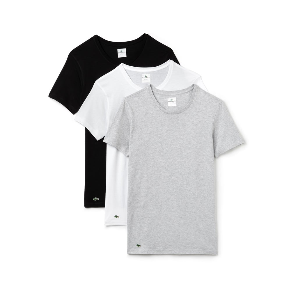6eba5771c Lacoste Essentials Collection 3 Pack Crew Neck T-Shirts - Black Grey ...