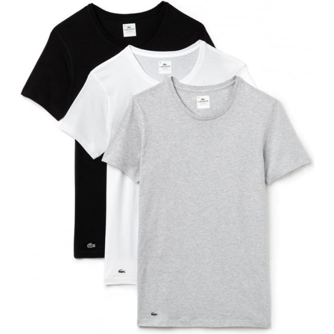 Lacoste Essentials Collection 3 Pack Crew Neck T-Shirts - Black/Grey/White